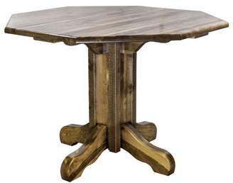 clear Montana Woodworks Homestead Collection Center Pedestal Table, Stain & Lacquer Finish