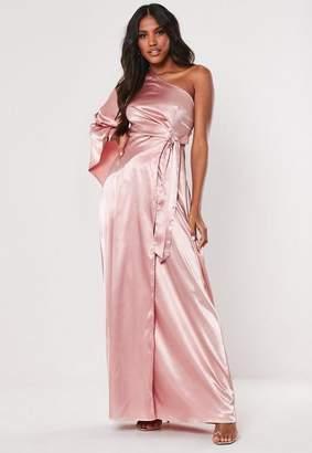 Missguided Blush One Shoulder Tie Satin Maxi Dress