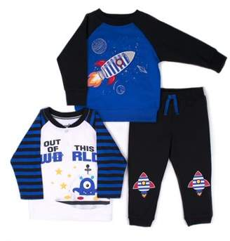 Little Rebels Interactive 3D Pullover Sweatshirt, Long Sleeve Top & Jogger Pants, 3pc Outfit Set (Baby Boys and Toddler Boys)