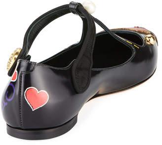 Dolce & Gabbana Bellucci Applique T-Strap Ballet Flats