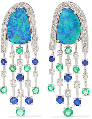 Amrapali 18-karat White Gold Multi-stone Earrings