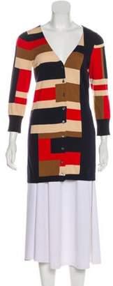 Diane von Furstenberg Intarsia Silk-Blend Cardigan Navy Intarsia Silk-Blend Cardigan