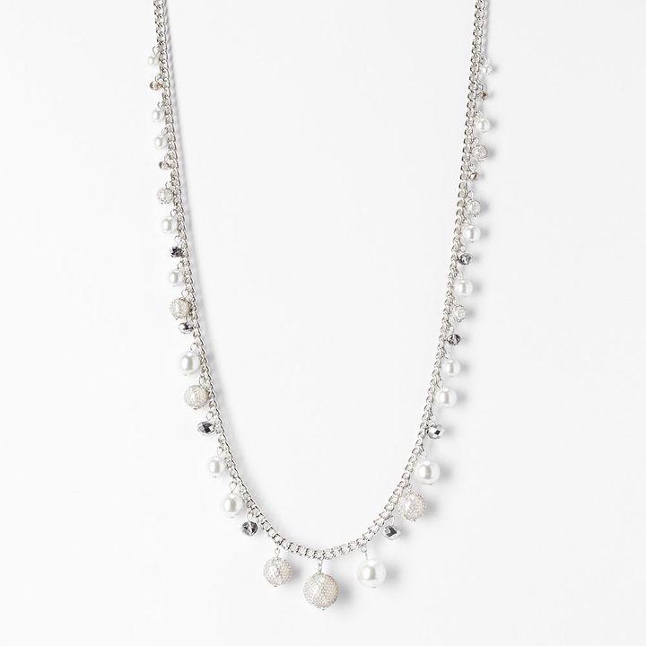 Vera Wang Simply vera tone simulated pearl & bead long necklace