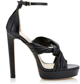 Jimmy Choo ABRIL 130 Black Nappa Platform Sandals with Intertwined Ruched Leather Straps