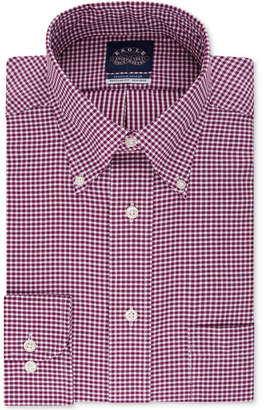 Eagle Men Classic/Regular-Fit Non-Iron Burgundy Gingham Dress Shirt