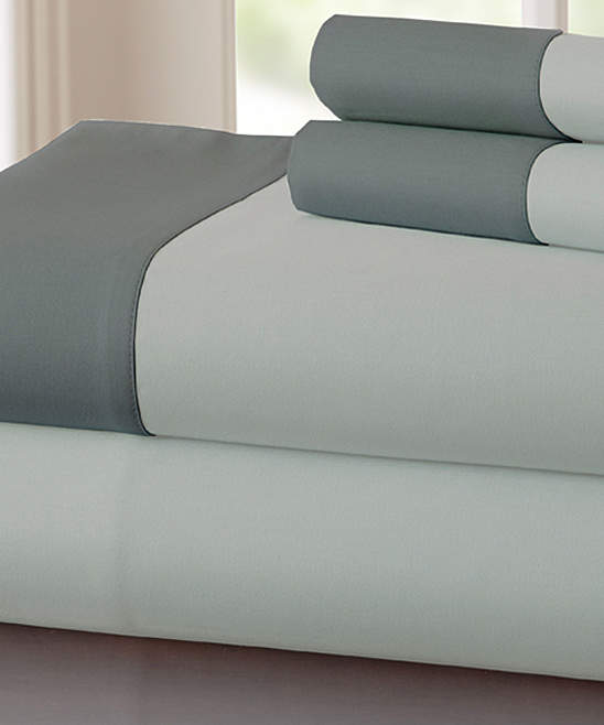 Silver & Charcoal Contrast Hem 400-Thread Count Cotton Sheet Set