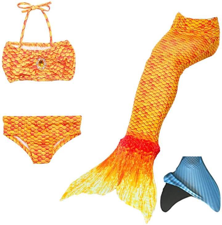 loenzo otiz Girl mermaid tail for swimming and fins set 4PC B120
