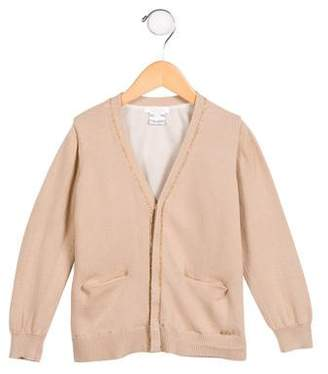 Chloé Girls' Knit Metallic-Trimmed Cardigan