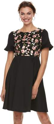 Petite Chaya Embroidered Bell Short Sleeve Dress