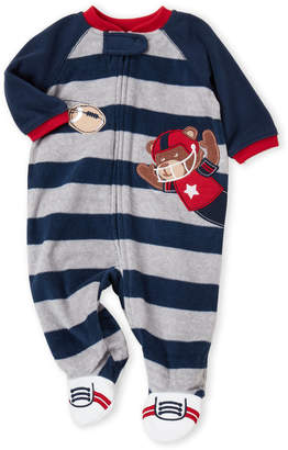Little Me Newborn Boys) Navy Raglan Fleece Footie
