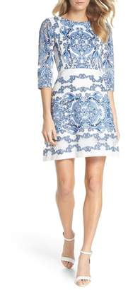 Gabby Skye Print Lace A-Line Dress