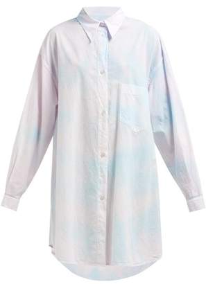 MM6 MAISON MARGIELA Tie Dye Oversized Cotton Shirtdress - Womens - White Multi