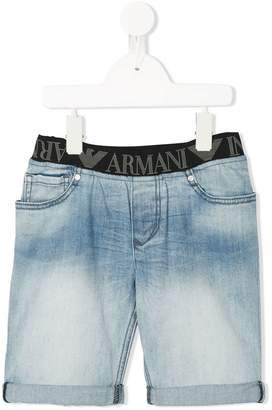 Emporio Armani Kids logo print denim shorts