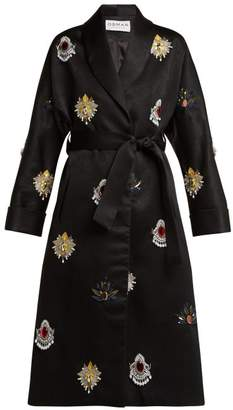 Osman Margeaux Embellished Satin Coat - Womens - Black Multi