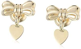 Girls' 14k Gold Heart and Bow Earrings