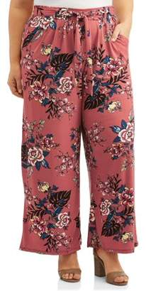 French Laundry Women's Plus Size Tie Front Pull On Knit Palazzo Pant