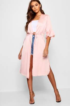 boohoo Sophie Ruffle Sleeve Belted Woven Duster