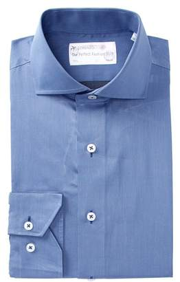 Lorenzo Uomo Woven Solid Trim Fit Dress Shirt