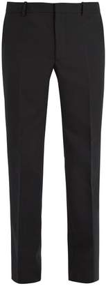 Balenciaga Slim Leg Wool Blend Trousers - Mens - Black