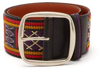 Etro Wide Embroidered Belt - Womens - Blue