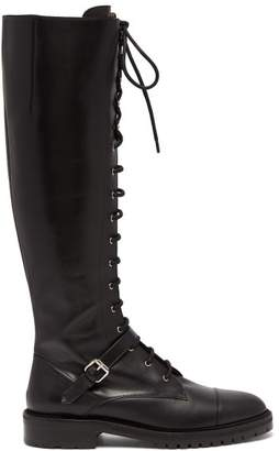 Tabitha Simmons Alfri Lace Up Leather Knee High Boots - Womens - Black
