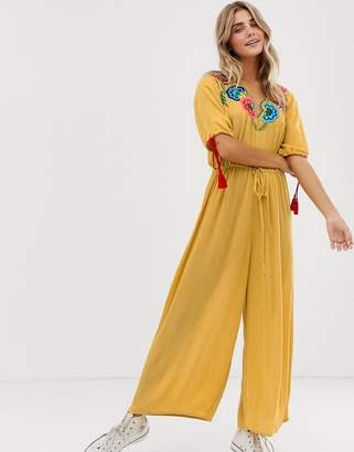 Asos Design DESIGN jumpsuit with embroidery and tie sleeve detail