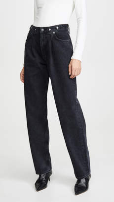 A Gold E AGOLDE Pleated Baggy Jeans with Mid Rise
