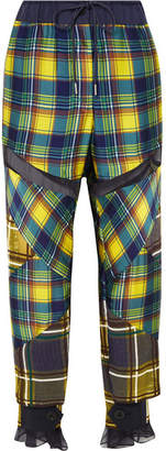 Sacai Mesh-trimmed Plaid Satin Pants - Yellow