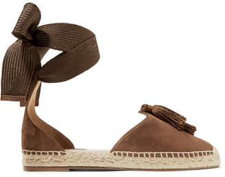 Aquazzura Love Tasseled Suede Espadrilles - Tan