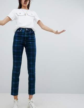 Asos DESIGN Farleigh high waist slim mom jeans in check print