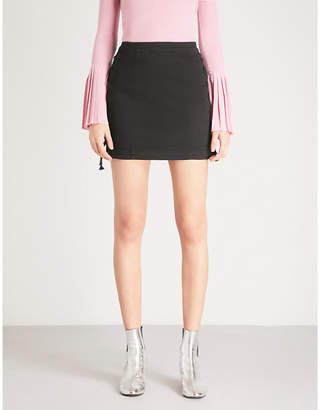 Mo&Co. Lace-up detail denim skirt