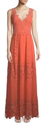 Kobi Halperin Audra Lace-Trim Silk Maxi Dress