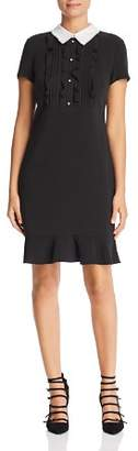 Karl Lagerfeld Paris Contrast-Collar Ruffle-Trim Dress