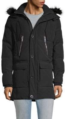 Faux Fur-Trimmed Hooded Down Jacket