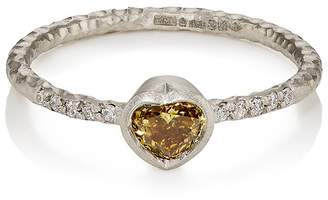 Malcolm Betts Women's Heart-Shaped Yellow Diamond Ring