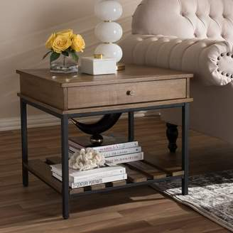 Gracie Oaks Pillar Rustic Industrial Style End Table