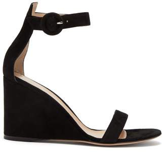 Gianvito Rossi Portofino 85 Suede Wedge Sandals - Womens - Black