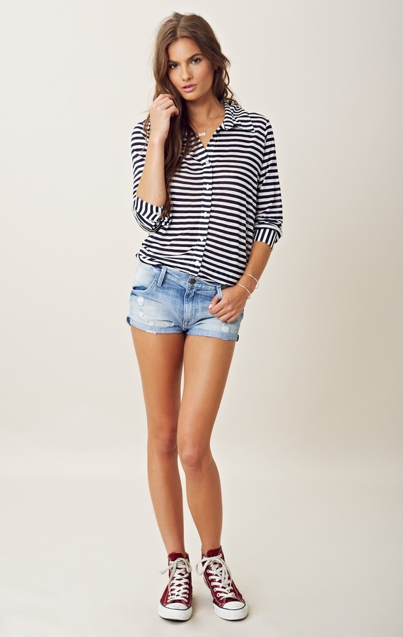 Blue Life STRIPED UNEVEN SHIRTING TOP