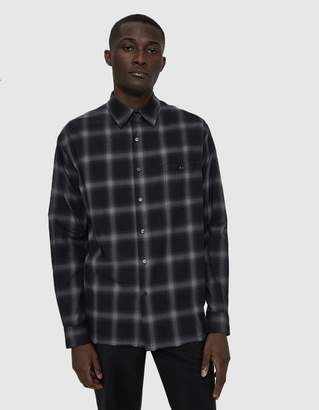 Need Combed Cotton Button Up Shirt in Gradient Black