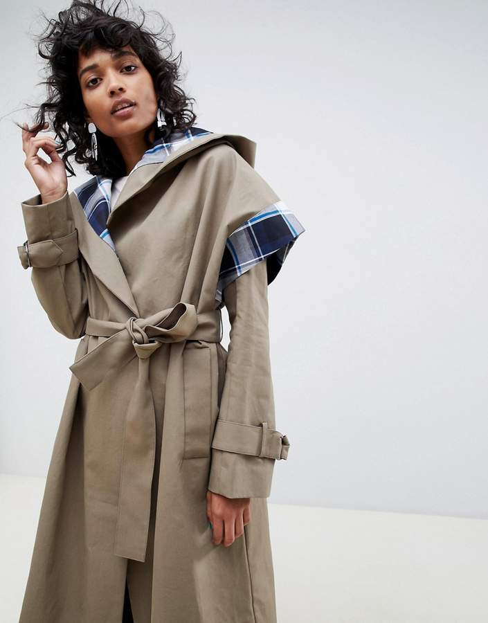 trench coat with check lining