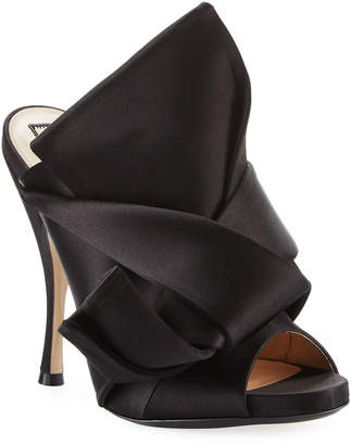 No.21 No. 21 Pleated Satin 100mm Mule Sandals