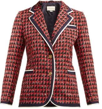 Gucci Single Breasted Geometric Tweed Jacket - Womens - Red Multi