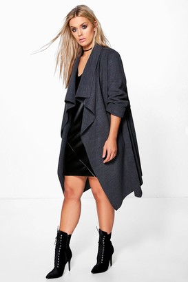 boohoo Plus Wool Look Wrap Front Coat