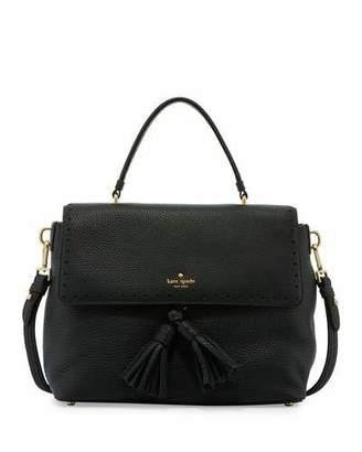 Kate Spade New York James Street Sparrow Leather Satchel Bag, Black $428 thestylecure.com