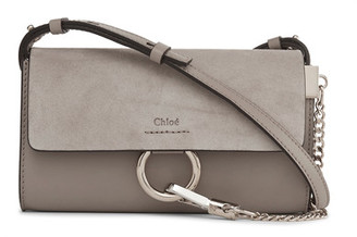 Chloé - Faye Mini Leather And Suede Shoulder Bag - Gray $795 thestylecure.com