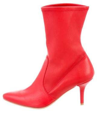 Stuart Weitzman Leather Pointed-Toe Mid-Calf Boots