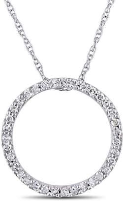 FINE JEWELRY Womens 1/8 CT. T.W. Genuine White Diamond 10K Gold Round Pendant Necklace
