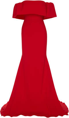 Alex Perry Clemente Off-The-Shoulder Satin Crepe Gown