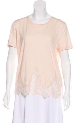 The Kooples Lace-Trimmed Short Sleeve T-Shirt w/ Tags