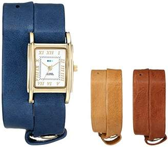 La Mer Women's LMGB001 Gold-Tone Watch with Three Interchangeable Leather Wrap Bands